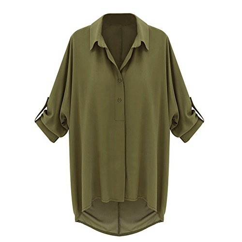 ISASSY Women Loose Chiffon Shirt T shirt Tops Blouse Batwing Sleeve Top Green colour size 12-14