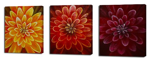 Hand Painted Modern Oil Painting Mum trio 3 Piece Canvas Art Set - Stretched with wooden frame