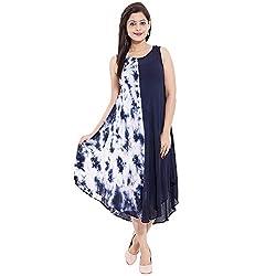 Belomoda Women High Low Flared Dress(TIEDYE_01_White and Navy Blue_Freesize)