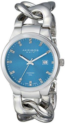 Akribos XXIV Women's AK759SSTQ Lady Diamond Analog Display Swiss Quartz Silver Watch