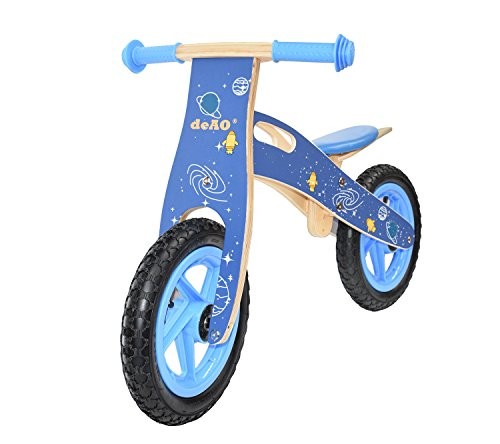 deAO� KIDS WOODEN BALANCE TRAINING BIKE CYCLE IN MULTI COLOURS
