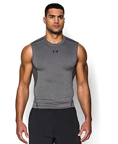 Under Armour Men's HeatGear Armour Sleeveless Compression Shirt, Carbon Heather/Black, Small