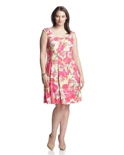 London Times Plus Women's Printed Dress with Pleating