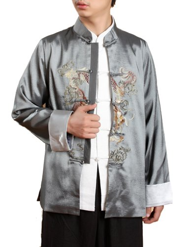 JTC Men's Chinese Top Kong Fu Tai Chi Sport Coat Dragon Embroidery Costume