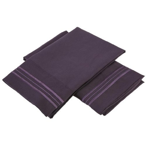 Clara Clark ® Premier 2000 Collection Micro Silk W/ Aloe Treatment Pillowcases, Set Of 2, Standard Size, Purple Eggplant front-762570