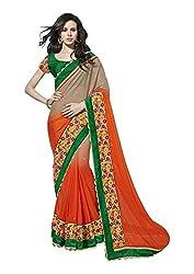 Saboo Orange Shaded Embroidery Saree-8518
