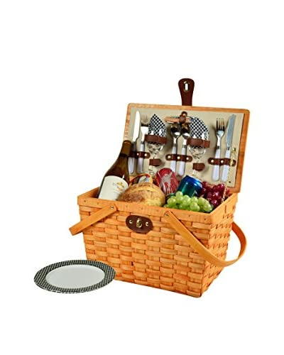 Picnic At Ascot Frisco Basket For 2, Honey/Black Gingham