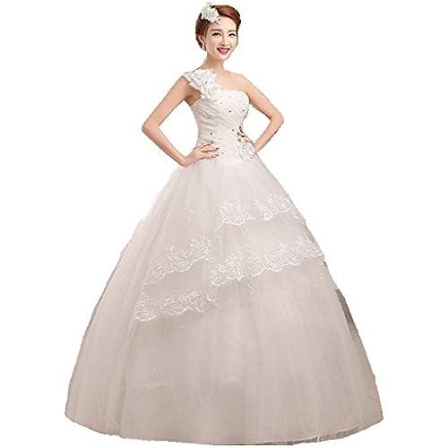 셀프웨딩 파티드레스 웨딩드레스 프린세스 라인 원 숄더 작고 예쁘장스러운 플라워장식