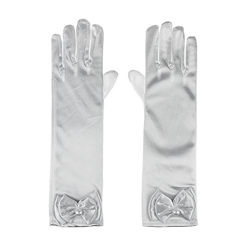 Kid Girls Cute Bowknot Pearl Stretch Satin Fancy Dress Formal Pageant Wedding Party Gloves, White Long