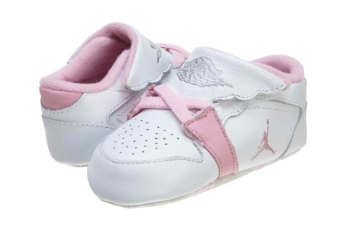 Air Jordan 1st Crib (CB) Infants Sneakers in White/Perfect Pink/Metallic Silver (370305-162)