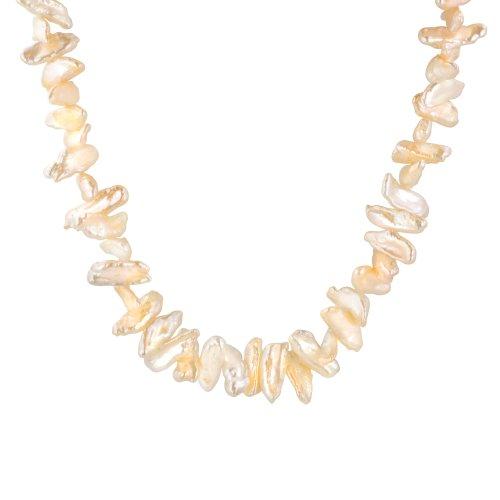 5-10 x 13-30mm Peach Freshwater Cultured Biwa Pearl Necklace, 16.5+3