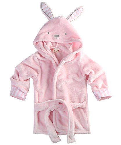 Hotone Baby Cotton Cartoon Animal Hooded Towel Bath Robe Super Absorbent (6-12 Months, Rabbit)