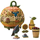 Jim Shore Heartwood Creek 5 Piece Set Pumpkin Container with Lid and Mini Figurines