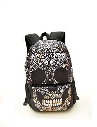 DAYAN Skeleton Backpack | borsa gotico Borsa Scuola Viaggi Leisure Ideale sacchetto di scuola