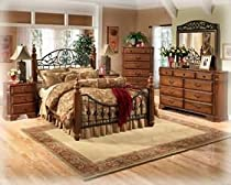 Big Sale Ashley Wyatt Iron Poster Queen Size Bedroom Set in Rich Oak Finish