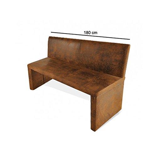 SAM® Esszimmer Sitzbank Family Wilson in brauner Wildlederoptik, 180 cm Breite, Sitzbank mit pflegeleichtem SAMOLUX® Bezug, angenehmer Sitzkomfort, frei im Raum aufstellbare Bank mit Rückenlehne