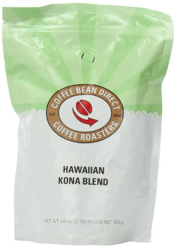 Coffee Bean Direct Hawaiian Kona Blend, Whole Bean Coffee, 16-Ounce Bags (Pack of 3)