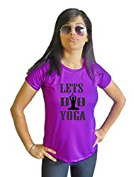 LetsFlaunt Lets Do Yoga T-shirt T-shirt Girls Purple Dry-Fit-Large Nw