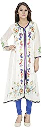 Ada Vastram Women's Georgette Slim Fit Kurta (Medium, Off White)