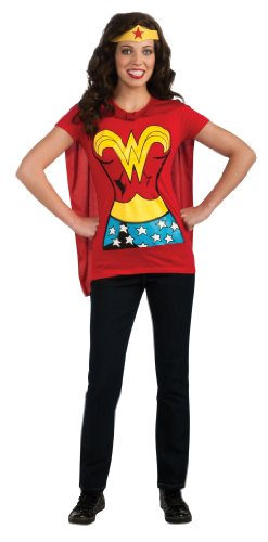 Rubie's Costume Co Women's Dc Comics Wonder Woman T-Shirt With Cape And Headband