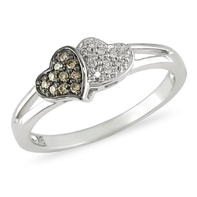 10k White Gold Brown and White Accent Diamond Heart Ring (0.1 Cttw, G-H Color, I2-I3 Clarity)