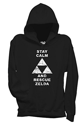 Felpa STAY CALM AND RESCUE ZELDA - GAMES by MUSH Dress Your Style - Bambino-XL-NERA
