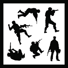 Auto Vynamics - STENCIL-SOLDIERS01-20 - Detailed Military Soldiers Stencil Set - Includes Standing a