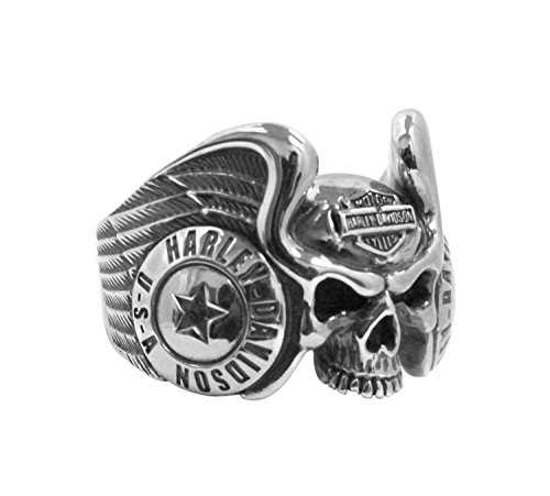 Harley-Davidson Mens Winged Gothic Skull Silver Ring (10)