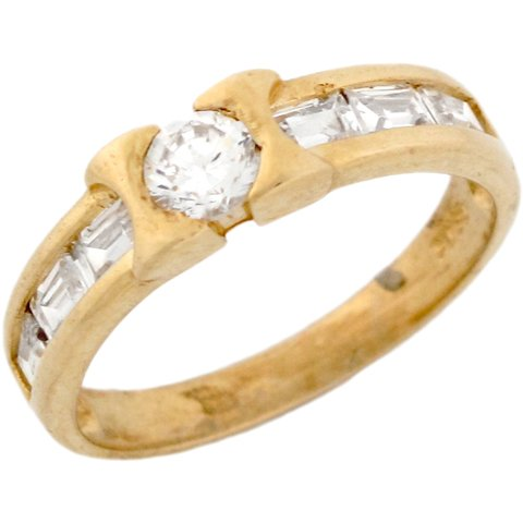 14ct Yellow Real Gold White CZ Modern Stylish Wedding Band Mens Ring