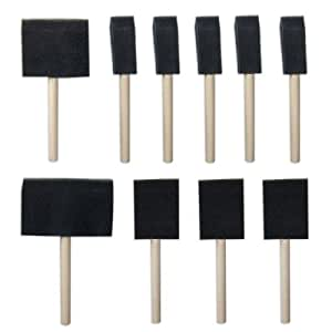 1 X Value-Pack 10-Pc Foam Paint Brush Set - Wood Handles