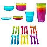 Acquista BBY4ALL Ikea Kalas - Set di stoviglie per bambini, comprensivo di ciotole, piatti e bicchieri, a elevata resistenza, privi di bisfenolo A, 36 pezzi, multicolore
