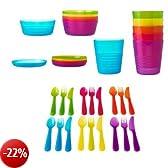 BBY4ALL Ikea Kalas - Set di stoviglie per bambini, comprensivo di ciotole, piatti e bicchieri, a elevata resistenza, privi di bisfenolo A, 36 pezzi, multicolore