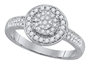 Pricegems 10K White Gold Ladies Round Brilliant Diamond Promise Ring (1/3 cttw, H-I Color, I1/I2 Clarity, Ring Size: 6.5)