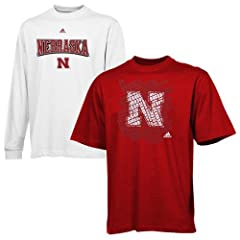 NCAA adidas Nebraska Cornhuskers 3-In-1 T-Shirt Combo Pack - White Scarlet by adidas