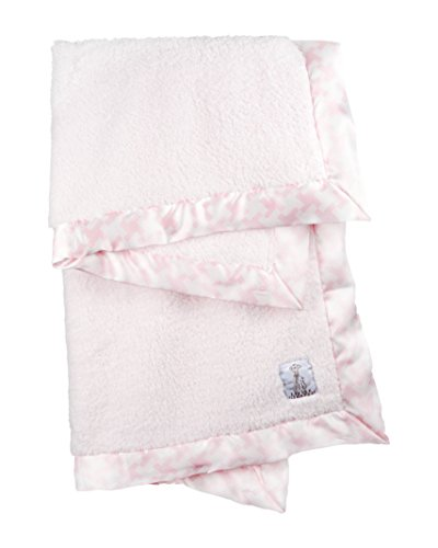 Little Giraffe Chenille Hounds Tooth Baby Blanket, Pink
