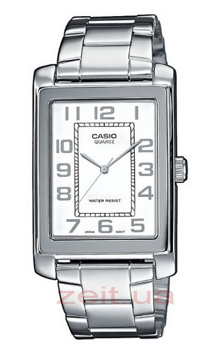 Casio MTP-1234D-7BEF Gents Watch Quartz Analogue White Dial Silver Steel Strap