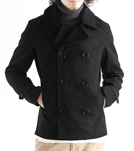 メルトンウールPコート ピーコート Pジャケット ピージャケット コート メンズ Lサイズ ブラック