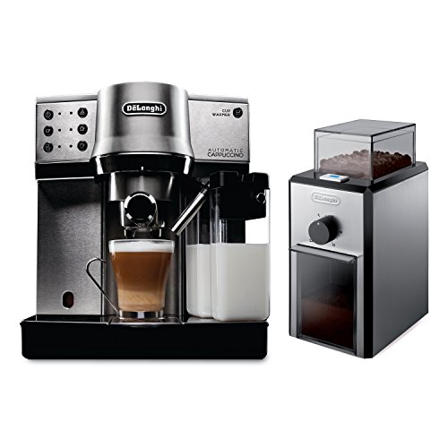 Delonghi Black Stainless Steel Pump Espresso and Cappuccino Maker with Electric Conical Burr Grinder