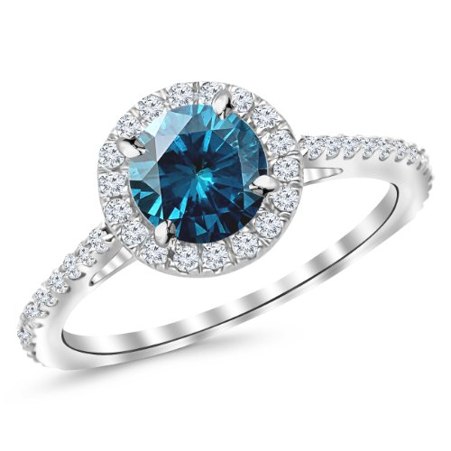 1.4 Carat 14K White Gold Classic Halo Diamond Engagement Ring With A 1 Carat Blue Diamond Center (Heirloom Quality)