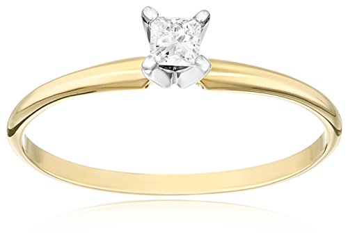 14k Yellow Gold Princess-Cut Solitaire Engagement Ring (1/6 cttw, I-J Color, I1-I2 Clarity), Size 6