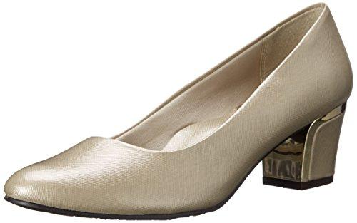 Soft Style By Hush Puppies Women's Deanna Dress Pump, Bone Cross/Hatch Patent/Gold Heel, 8 M US