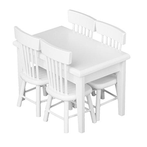 5-Stck-Esstisch-Stuhl-Modell-Set-Puppenhaus-Miniatur-Mbel-Wei112