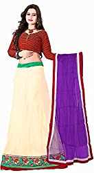 Khoobee Presents Women's Multi Embroidered Stitched Lahenga With Unstitched Blouse Piece.(Off-White)