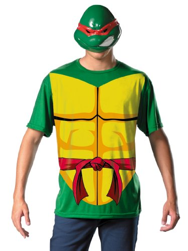 Ninja Turtles Costume Mens Theatrical T-Shirt and Mask Raphael Superhero Green