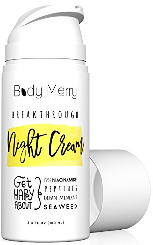Breakthrough Night Cream- Anti Aging Night Cream Moisturizer w 5% Niacinamide + Best Natural & Organic Ingredients Hyaluronic Acid + Ocean Minerals + Seaweed to Fight Wrinkles, Lines, Acne & Spots