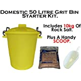 50 Litre YELLOW DOMESTIC GRIT ROCK SALT BIN Dustbin De-Ice 50L Storage Container