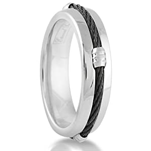 7MM Men's Titanium Black Cable Barrel Ring Wedding Band Comfort Fit (Size 5)