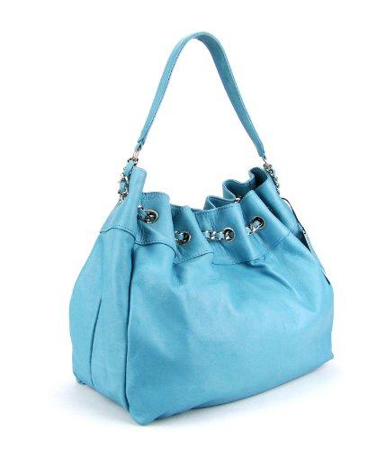 IO Pelle Italian Light Blue Leather Drawstring Hobo Shoulder Bag Purse