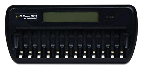 ブラック エネループ/エネロング対応 ニッケル水素・ニカド充電池専用充電器【TGX12】LCDディスプレイで充電状況が一目で分かる 単3形電池・単4形電池兼用