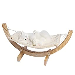 Kisspet Leisure Time Pet Cat Dog Hammock Bed Sofa Plush Pet Cushion Mat with Solid Wood Stand (Beige)